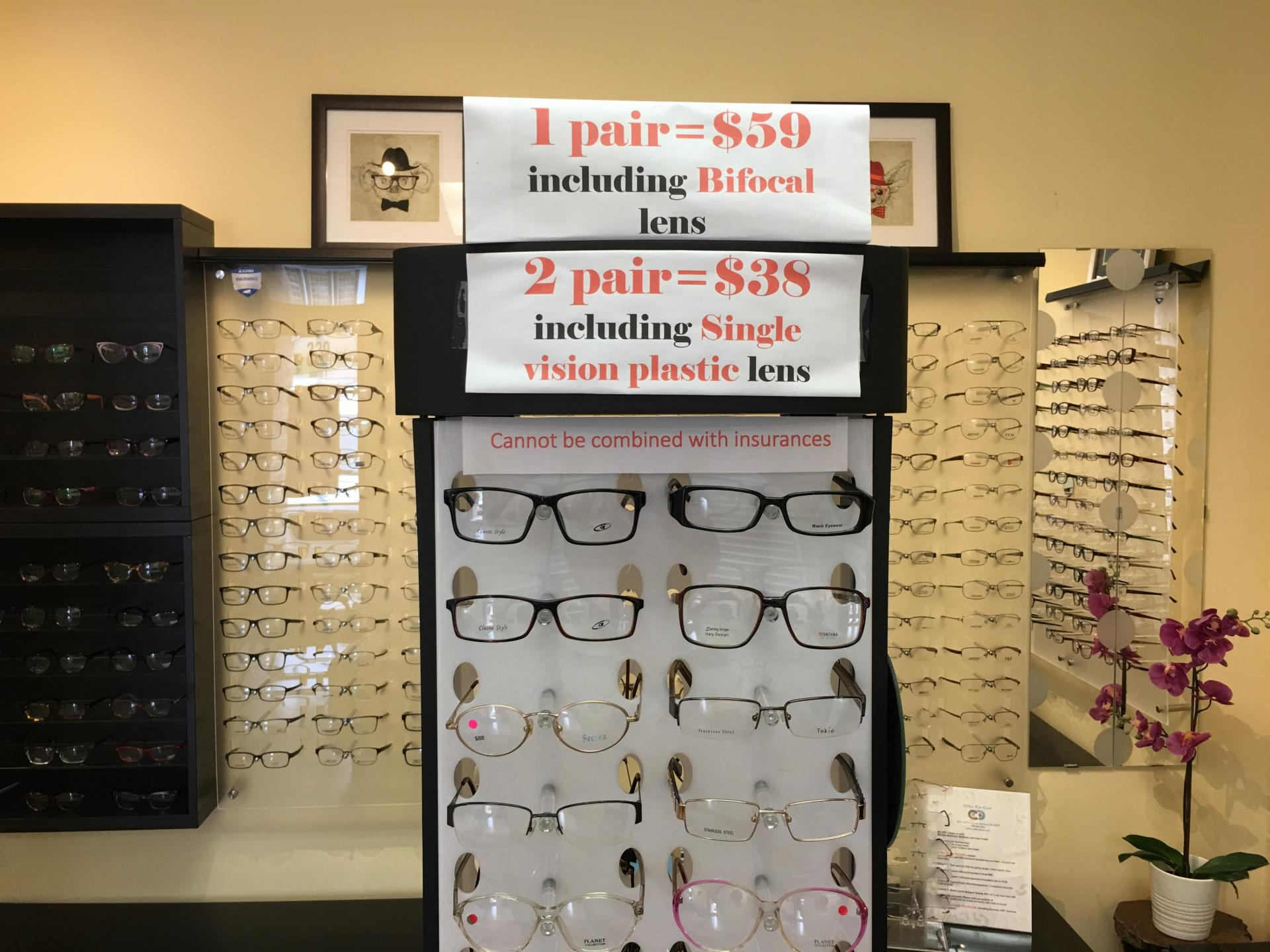 5b9f376feb0b Eye exam $25. Two pairs for $38. Contact lens eye exam $65. Name brand  frame 50% off less than $80. One hour service. Walkins welcome.